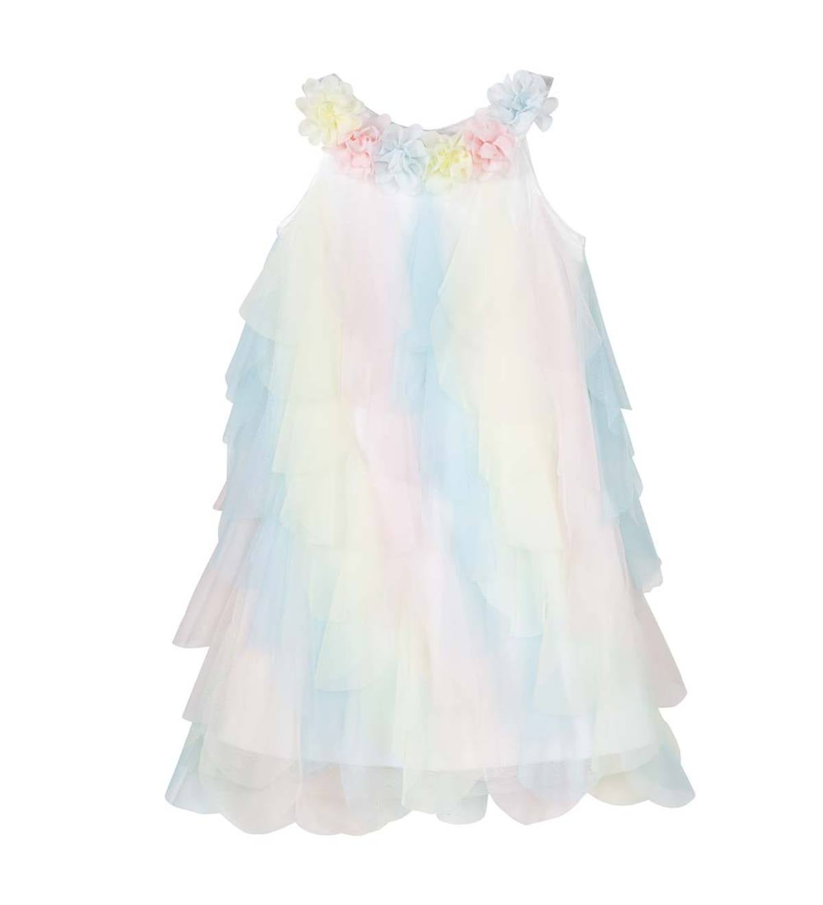Sleeveless Multicolor Cascading Ruffles Dress - MLT - 5