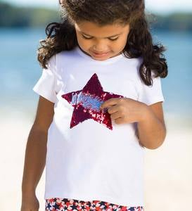 Sequin Star Tee - White - 6X