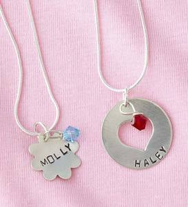 Personalized Birthstone Necklace - Heart - April