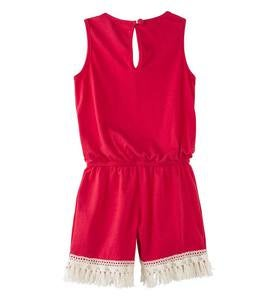 Sleeveless Lace and Tassels Romper - RD - 10