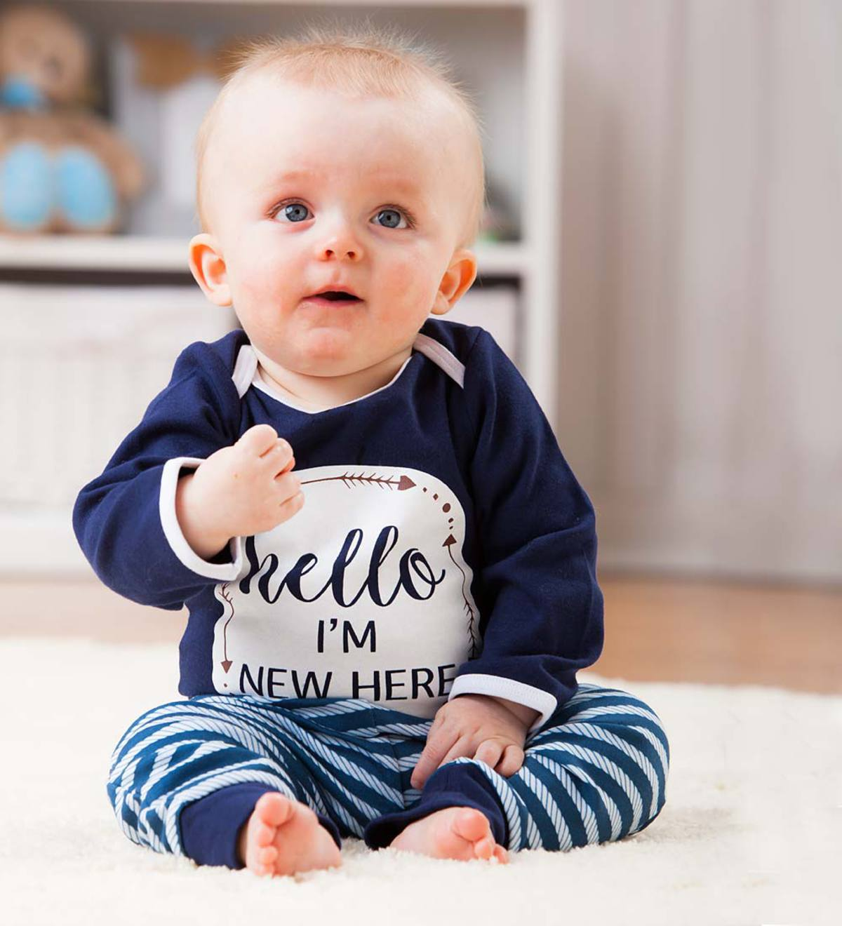 Hello, I'm New Here Apparel Set - Navy - 6/9M