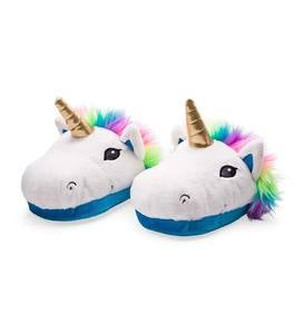 Bright Plush Unicorn Slippers - LG