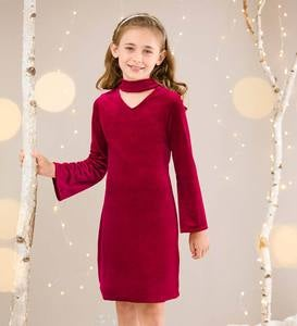 Velour Keyhole Neckline Dress