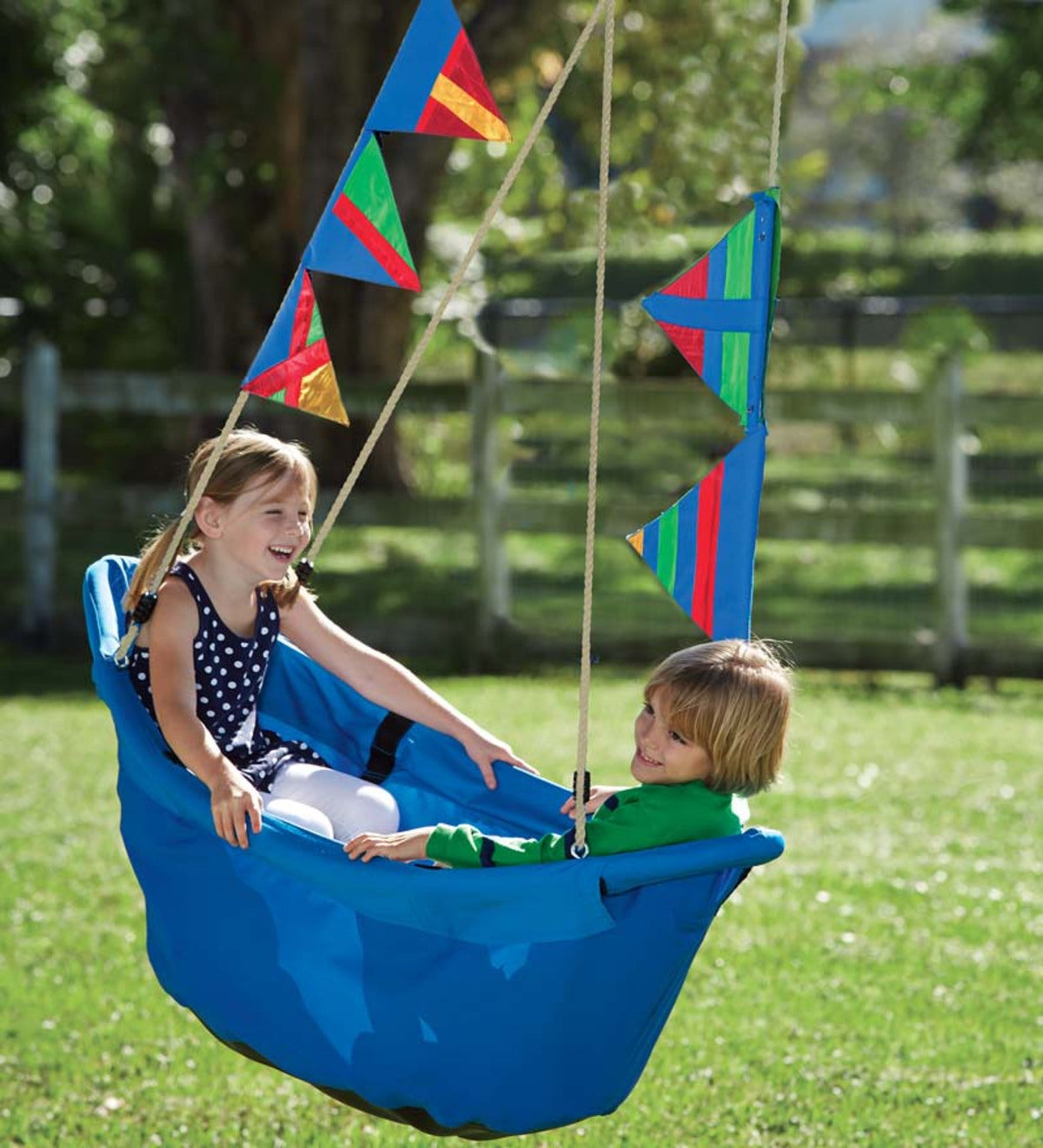 Regatta Boat Tree Swing with Colorful Flags and Mesh Bottom