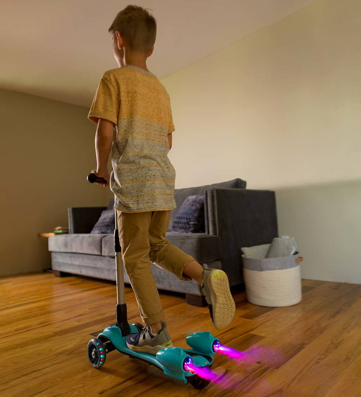 Adjustable-Height Folding Light Up Steam Scooter