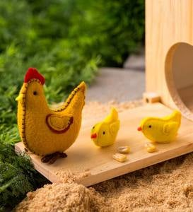 Wooden Chicken Coop with Felt Chicken, Rooster, and Nest Play Set