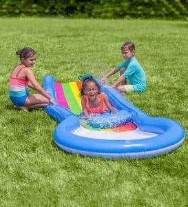 Inflatable 12'L Rainbow Misted Water Slide with Splash Pool