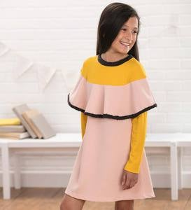 Long-Sleeve Ruffle-Collar Colorblock Dress