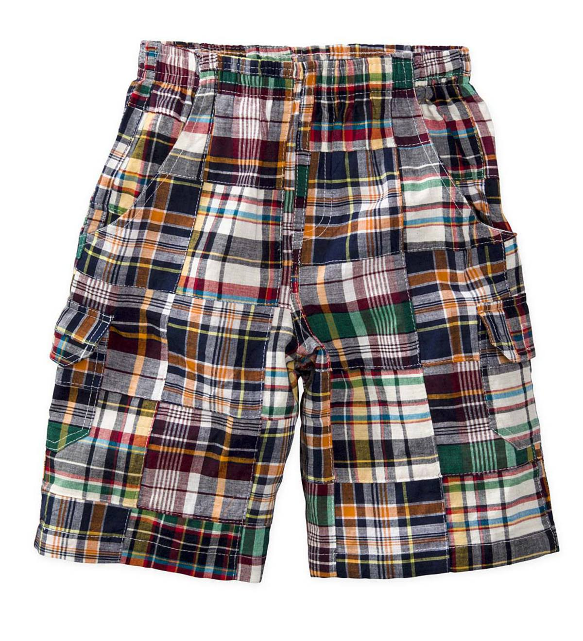 Warm Colors Plaid Cargo Shorts - Multi - 18M