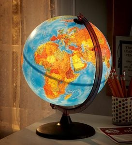 Illuminated Orion Relief Globe with Non-Tip Base