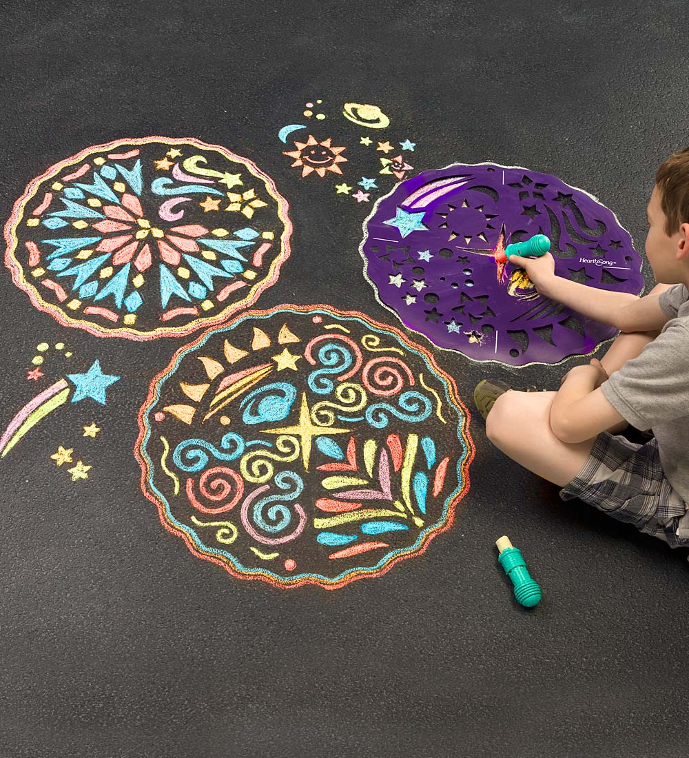 ChalkScapes Mandalas Sidewalk Stencils Chalk Art Kit