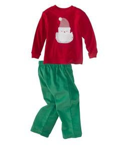 Santa Applique Stripe Dress & Pants Set