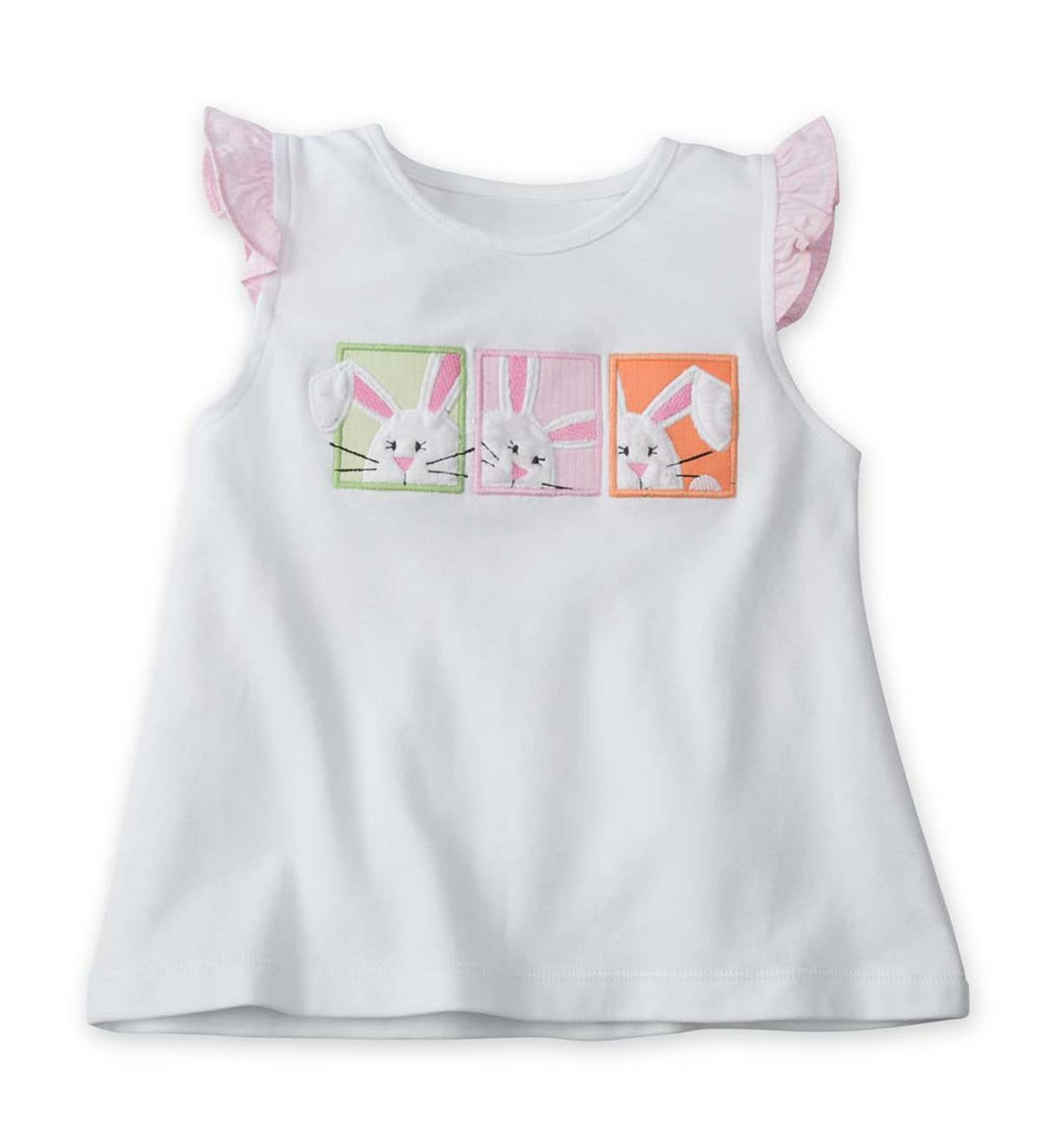 Ruffle Sleeve Bunny Appliques Tee - White - 4T