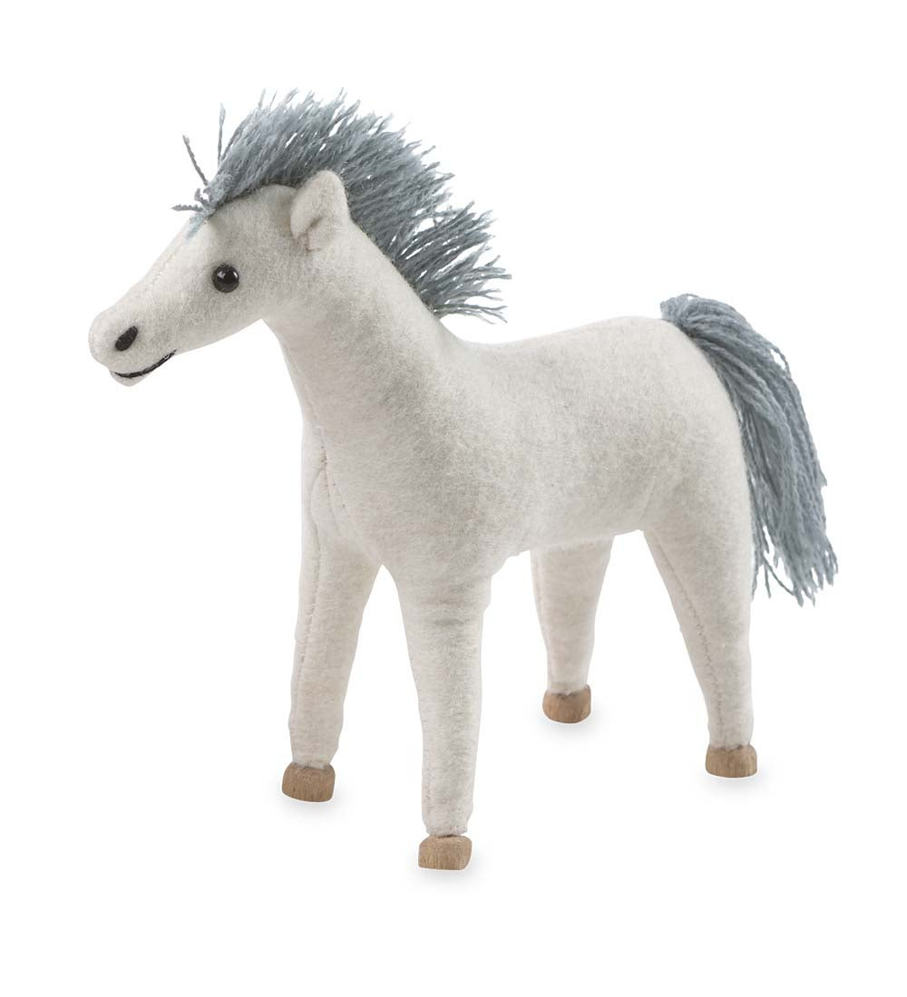 Felt Pony with Wooden Hooves