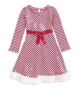 Santa Stripes & Fur Dress - Multi - 7