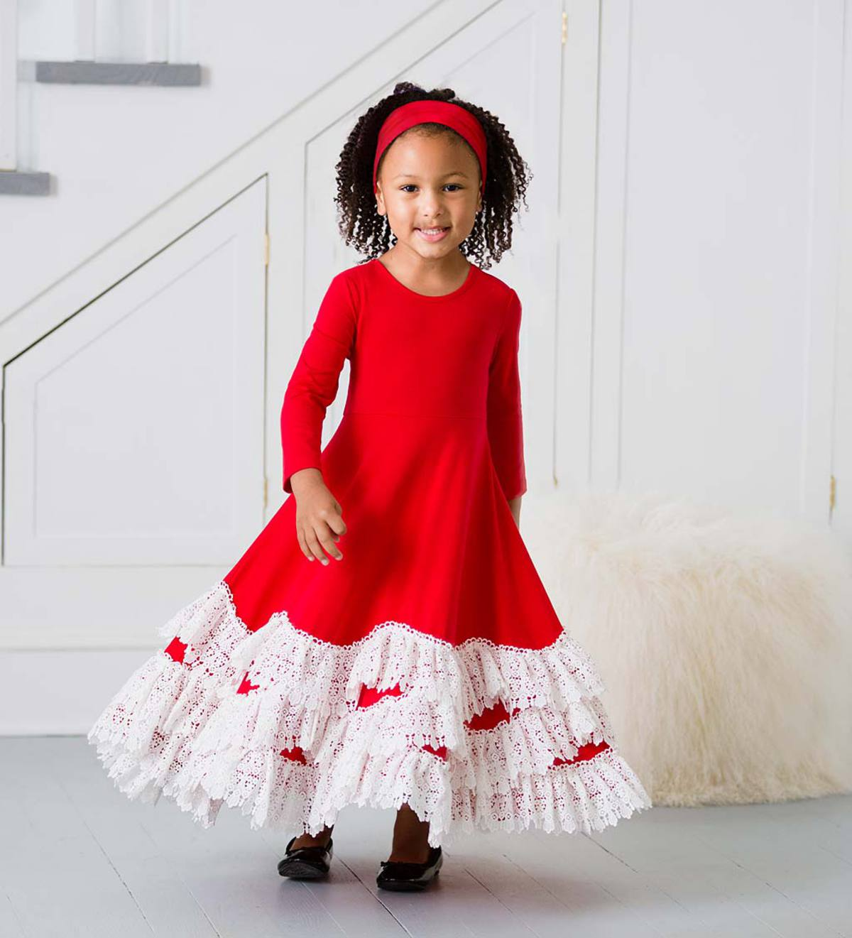 Lace Hem Dress Set - Red - 7