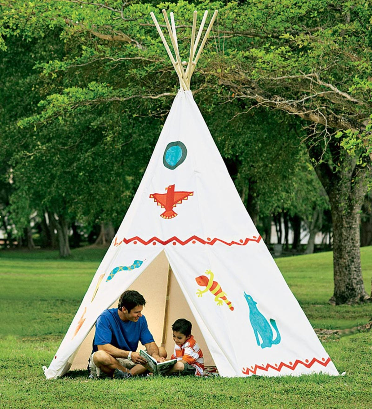 12' Family-Sized Cotton Canvas Teepee with Wooden Poles