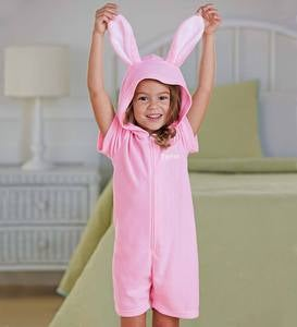 Personalized Short Sleeve Bunny Romper - Pink - 10