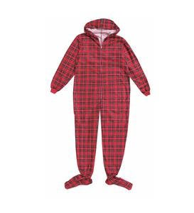 Plaid Footed PJ with Hood - Red - 2T