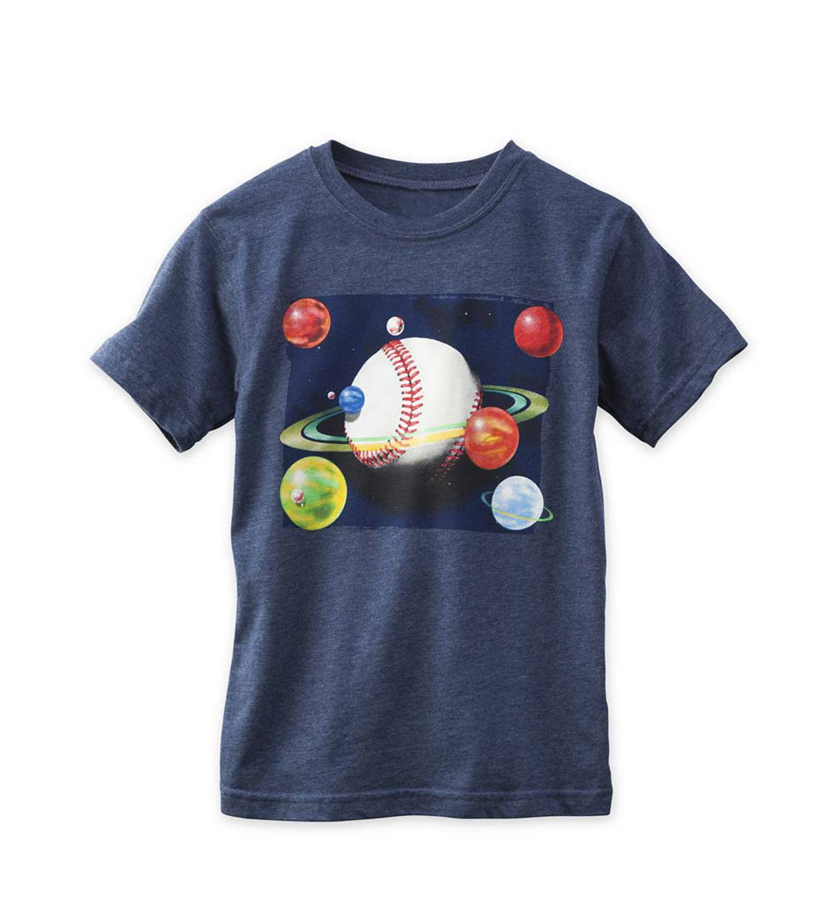 Short Sleeve Baseball Space Graphic Tee - Navy - 4T