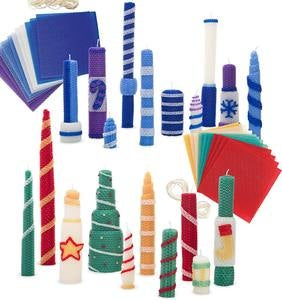 Winter and Holiday-Themed Beeswax Candle Rolling Craft Kits