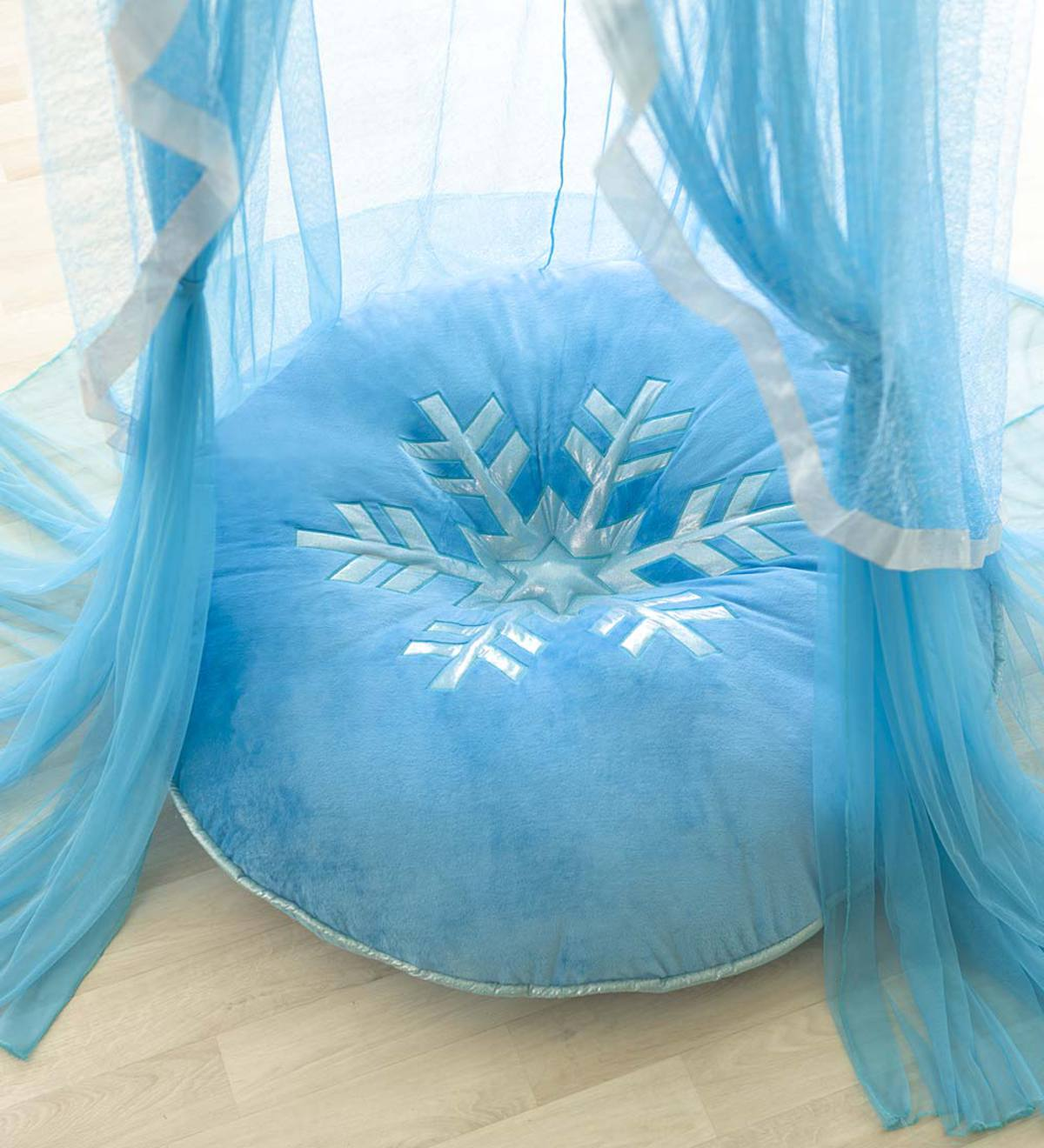 Silvery Snowflake Floor Pillow