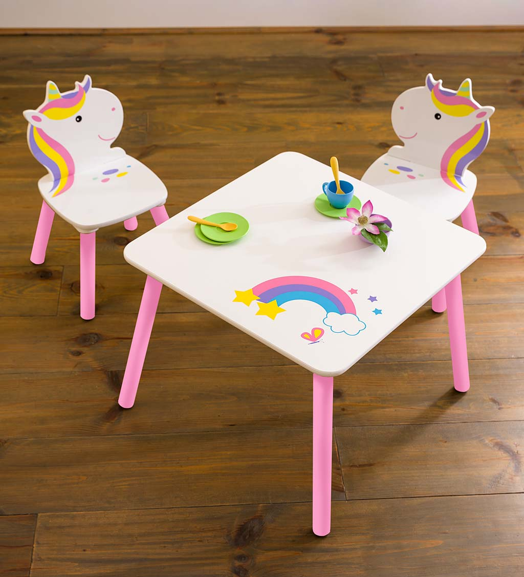Rainbow Unicorn Table and Chairs Playroom Furniture Set