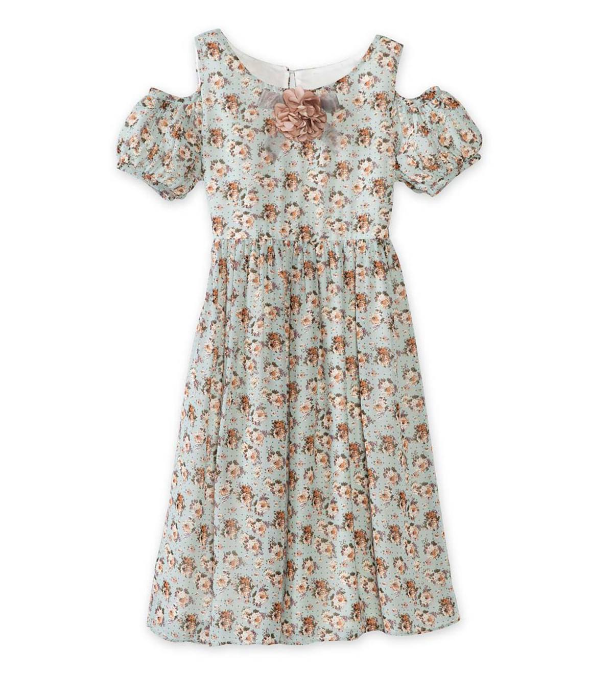Short-Sleeve Open-Shoulder Floral Dress