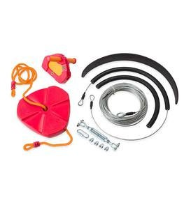 80' Red Backyard Zipline Kit