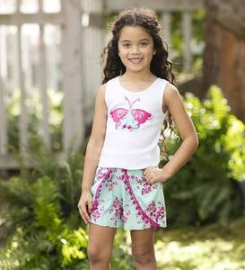 Sequin and Pom Pom Butterfly Tank Top - WH - 14