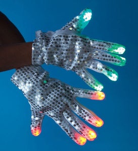 White Sequined LED Light-Up Gloves, set of 2