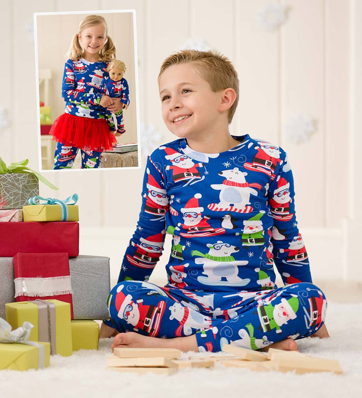 Santa & Polar Bear Pajamas - Blue - 2