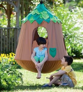 Woodland HugglePod HangOut Indoor/Outdoor Hanging Chair with LED Leaf Lights