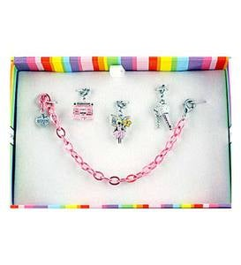 "Charm It High-Quality 7"" Silver Plated Bracelet with 3 Charms Set - Fairytale"