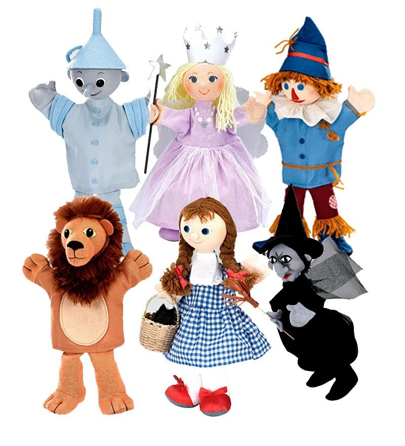 Set of Six Peter Pan Puppets or Wizard of Oz Puppets