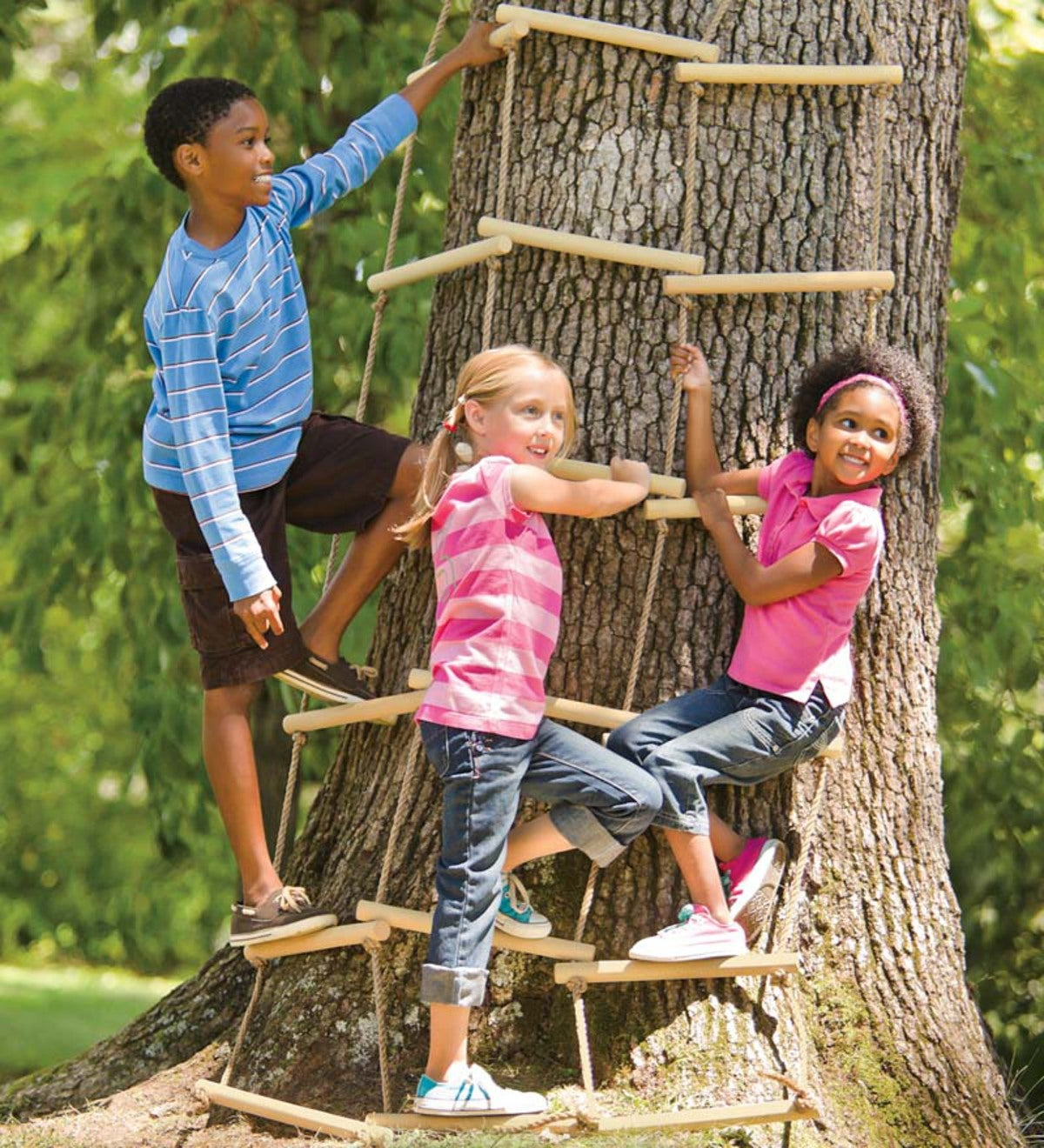 Triple-Wide Climbing Rope Ladder for Kids