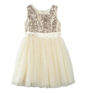 Glitter Twirl Dress - Gold - 4
