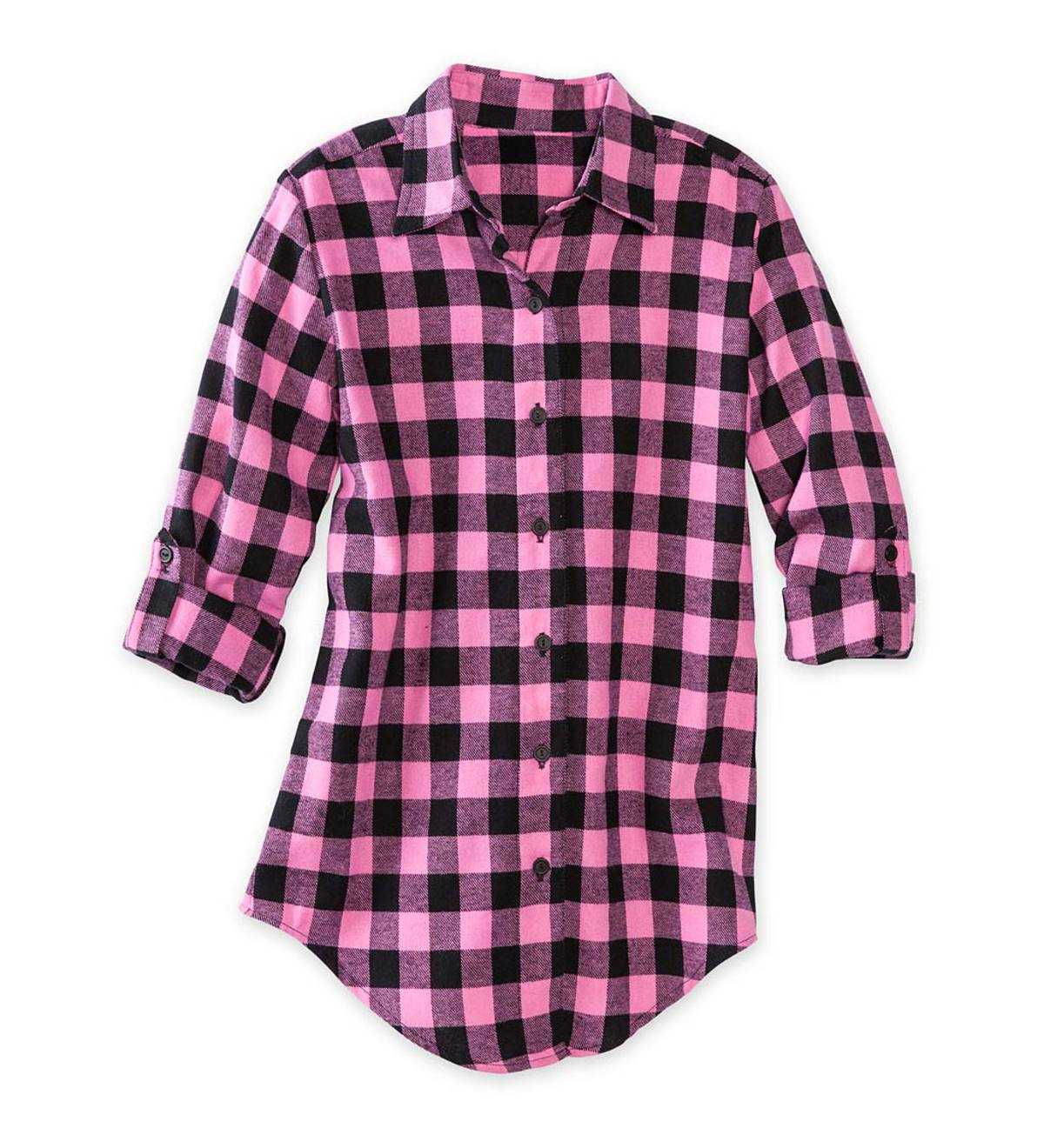 Long-Sleeve Plaid Button-Down Shirt Tunic