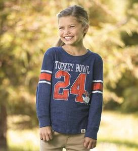 Personalized Turkey Bowl Tee - Blue - 2T