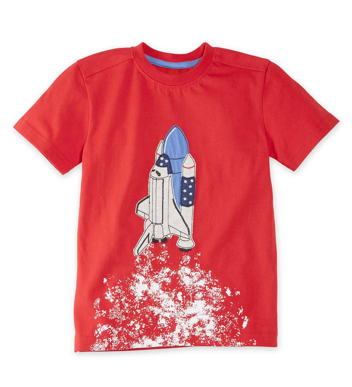 Short Sleeve Spaceship Blast Off Tee - RD - 18M