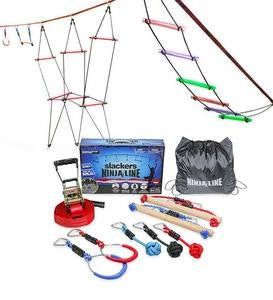 Deluxe Ninjaline Hanging Obstacle Course Kit with Bachar Ladder and Rickety Bridge