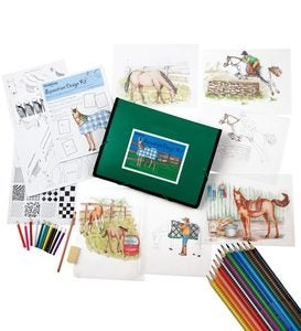 Equestrian Design Drawing Kit with Colored Pencils