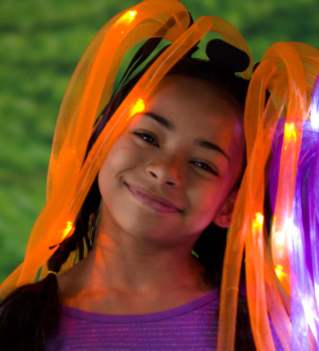 LIght-Up Noodle-Head Headbands - Orange