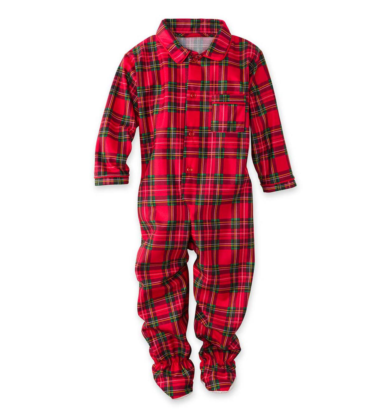 Plaid Button-Front Footed Pajamas - Red - 6M
