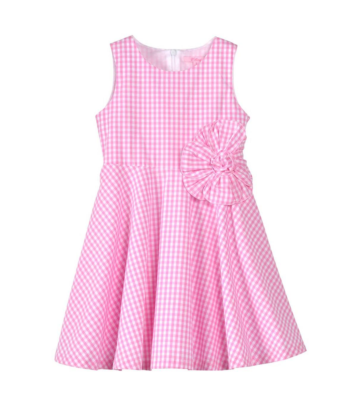 Sleeveless Seersucker Flower Dress - Pink - 6
