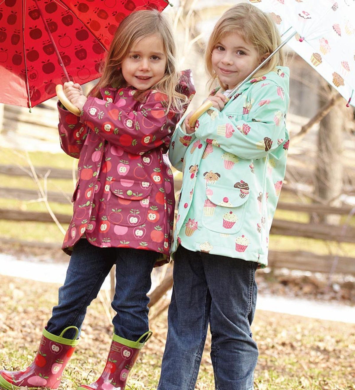 Hatley 100% Polyurethane Rain Jacket with Front Snaps, Pockets, and Super-Soft Cotton/Poly Terry Lining for Girls - 01