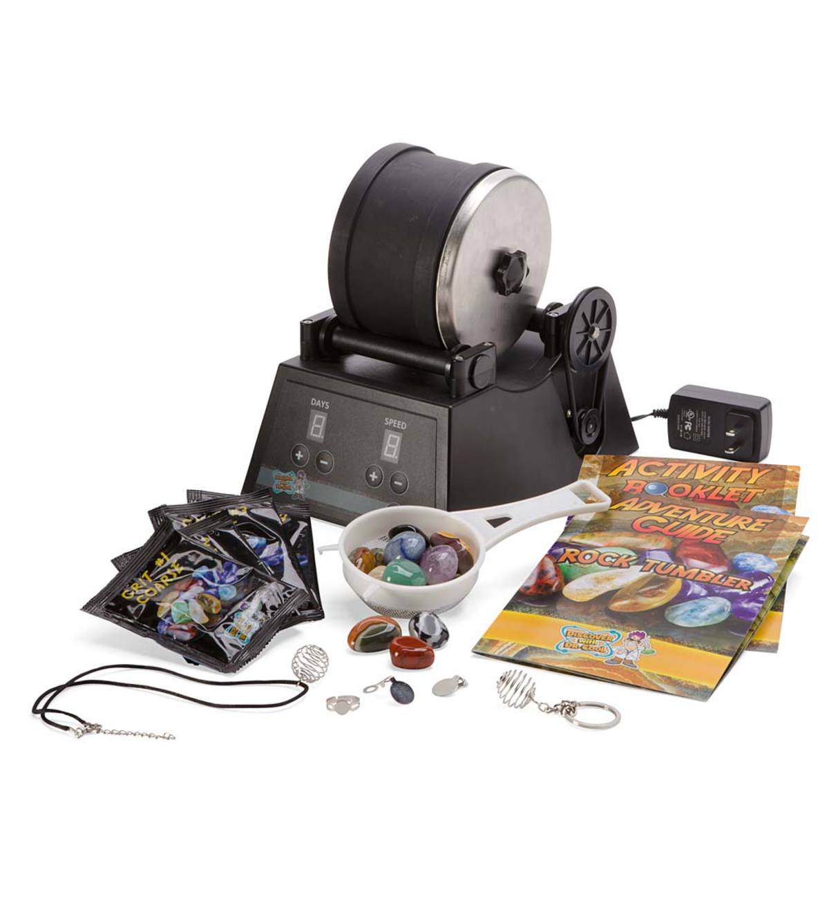 Rock Tumbler Pro Rock Polishing Machine with Assorted Gemstones, Polishing Grit, and Jewelry Fastenings