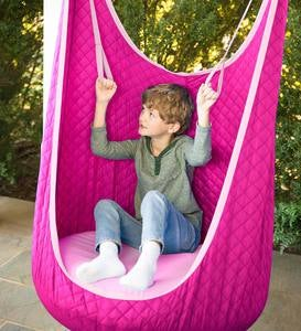 Cozy Quilted HugglePod Hanging Chair with Inflatable Cushion and Built-in Handles