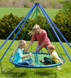 Sky Island Large Platform Multiple-Child Backyard Swing with Stand, Cushion, and Teepee Cover