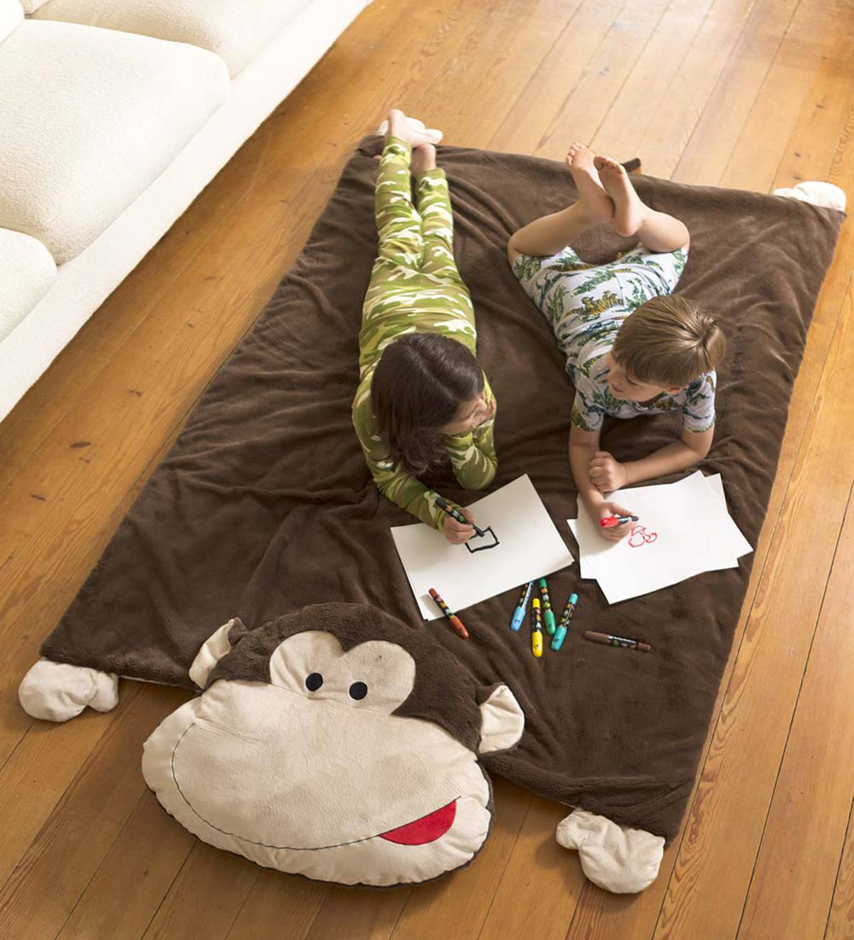 fcaf2447 Jumbo Monkey Snuggle Mat | 3 years old | Ages | HearthSong